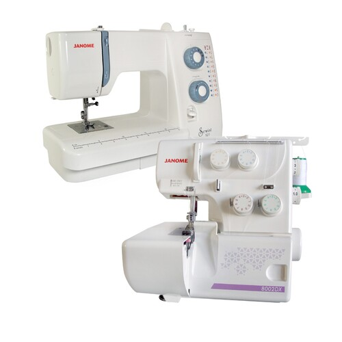 Janome Sewist 521 Sewing Machine + 8002DX Overlocker Set