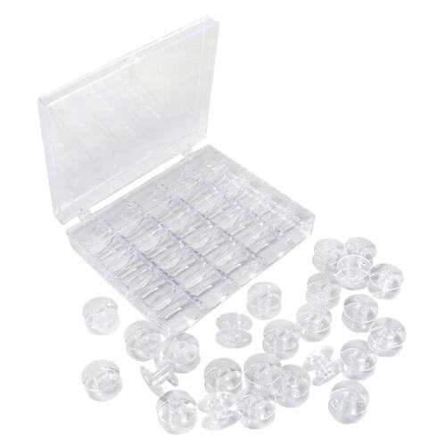25 Empty Plastic Bobbins + Storage Box